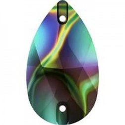 Swarovski Pear Sew-On Stone #3230 - Rainbow Dark - 28x17mm