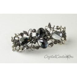 "Black Diamond Pear & Black Diamond/Jet Hematite Rhinestone 3.5"" Barrette"