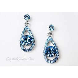 Aquamarine/Silver Teardrop Earring with 8mm Aquamarine Rhinestone