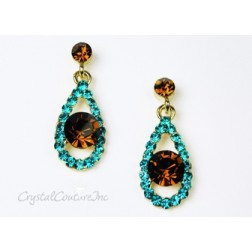 Blue Zircon/Silver Teardrop Earring with 8mm Smoked Topaz Rhinestone