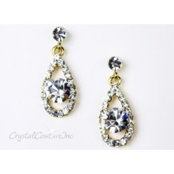 Crystal/Gold Teardrop Earring with 8mm Crystal Rhinestone