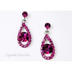 Fuchsia/Silver Teardrop Earring with 8mm Fuchsia Rhinestone