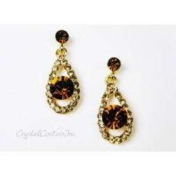 Lt Colorado Topaz Teardrop Earring with 8mm Smoked Topaz Rhinestone