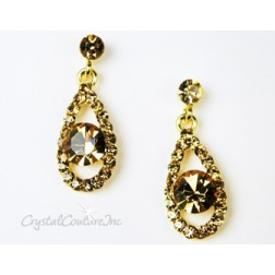 Lt Colorado Topaz/Gold Teardrop Earring with 8mm Lt Colorado Topaz Rhinestone