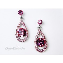 Lt Rose Teardrop Earring with 8mm Rose Rhinestone