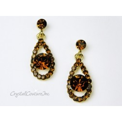 Smoked Topaz Teardrop Earring with 8mm Smoked Topaz Rhinestone
