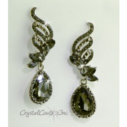 "Black Diamond/Silver Pear Rhinestone 2 1/2"" Earring"