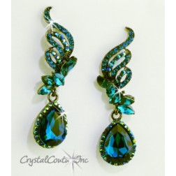 "Blue Zircon/Graphite Pear Rhinestone 2 1/2"" Earring"