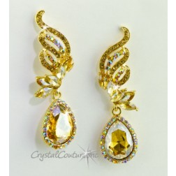"Lt Colorado Topaz/Gold Pear Rhinestone 2 1/2"" Earring"