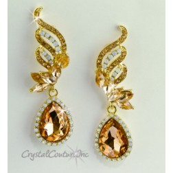 "Lt Peach/Gold Pear Rhinestone 2 1/2"" Earring"
