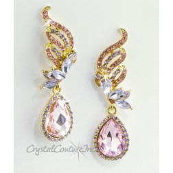 "Lt Rose/Gold Pear Rhinestone 2 1/2"" Earring"