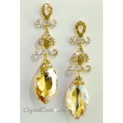"Golden Shadow/Gold Navette Rhinestone 3"" Earring"