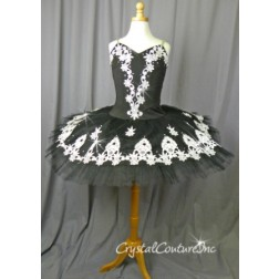 Black Platter Tutu with White Lace & Silver Sequins - Size YL