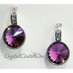 Amethyst 15mm Linked Gold Earring with Single Row Crystal Rhinestones
