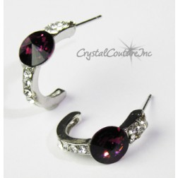 Amethyst 8mm Rivoli Post Earrings with Rhinestone Half Hoop