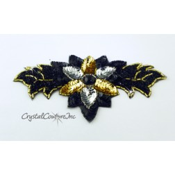 Black /Gold/Silver Leaf & Flower Applique