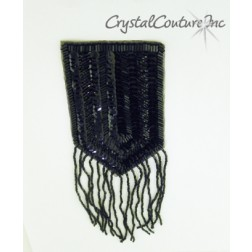 Black Beaded/Sequined Epaulette Applique