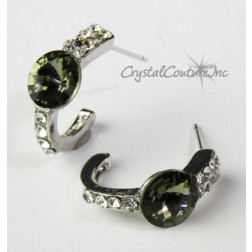 Black Diamond 8mm Rivoli Post Earrings with Rhinestone Half Hoop