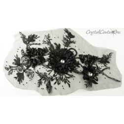 3D Black Embroidered Applique