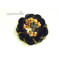 Black/Bronze Sequin Combo Applique