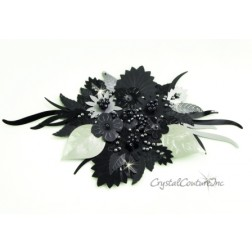 Black/Silver Sequin & Beaded Combo Applique