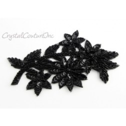Black Sequin Flower & Beaded Applique