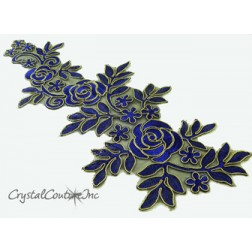 Blue/Gold Floral Lace Embroidered Applique