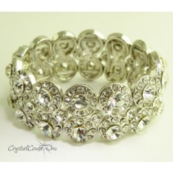Crystal/Silver 2 Row Rhinestone Stretch Bracelet