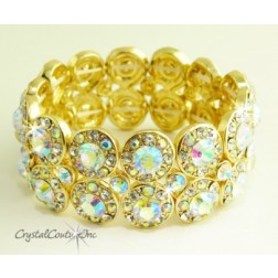Crystal AB/Gold 2 Row Rhinestone Stretch Bracelet