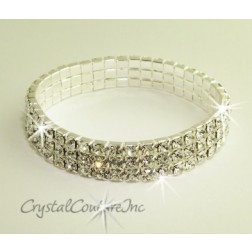 Crystal/Silver 3 Row Rhinestone Stretch Bracelet