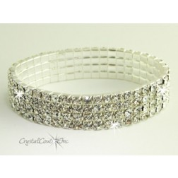 Crystal/Silver 4 Row Rhinestone Stretch Bracelet