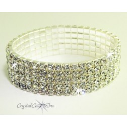 Crystal/Silver 5 Row Rhinestone Stretch Bracelet