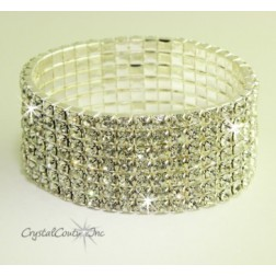 Crystal/Silver 7 Row Rhinestone Stretch Bracelet