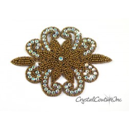 Bronze Beaded/CAB Rhinestone Applique