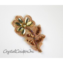 Bronze/Copper Beaded/Embroidered Flower Applique