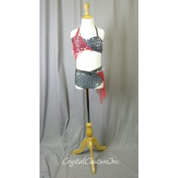Grey Bra-Top & Trunk with Red Netting - Swarovski Rhinestones - Size YM