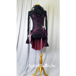 Black Floral Lace Leotard with Burgundy Lining & Back Half Skirt - Size AM