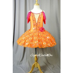 Orange Platter Tutu with Emroidered Details & Hot Pink Accents - Swarovski Rhinestones - Size YL