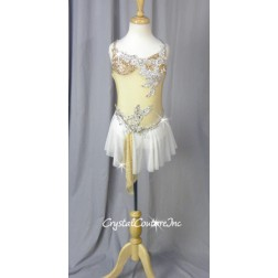 Nude & White Sheer Mesh Dress with Appliques - Swarovski Rhinestones - Size YM