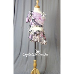 Lavender & Multicolored, One sleeved Crop Top & Booty Shorts with Attached Asymmetrical Skirt - Swarovski Rhinestones - Size YL