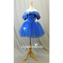 Royal Blue Woven Corset and Soft Romantic Tutu - Swarovski Rhinestones - Size YM