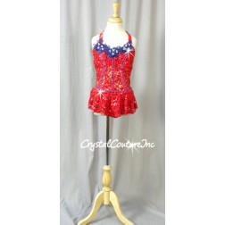 Red Floral Sequin Lace Leotard/Skirt with Blue Accents - Swarovski Rhinestones - Size YL
