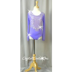 Lavender Purple Long-Sleeved Leotard with Appliques- Swarovski Rhinestones - Size YL