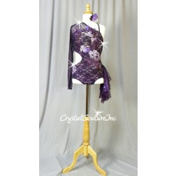 Dark Purple Floral Lace Cut-Out Leotard with Sleeve and Side Skirt - Swarovski Rhinestones - AXS