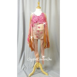 Blush Pink Sheer Mesh Unitard with Lace Appliques and Ombre Wings - Swarovski Rhinestones - YM