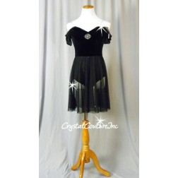 Black Velour and Sheer Mesh Dress - Swarovski Rhinestones - Size AM