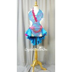 Teal Blue Lace/Fuchsia Open-Back Leotard with Tiered Skirt - Swarovski Rhinestones - Size AXS