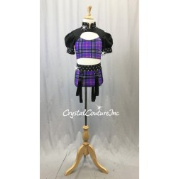 Black and Purple Plaid Two-Piece Cropped Top with Half-Sleeves and Trunks - Size YS