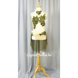 Nude Mesh Leotard with Olive Green Embroidered Lace Appliques and Sheer Mesh Skirt - Swarovski Rhinestones - Size AS