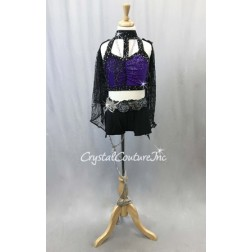Black and Mock-Neck Top with Booty Shorts and Lace Wings - Swarovski Rhinetones - Size AXS